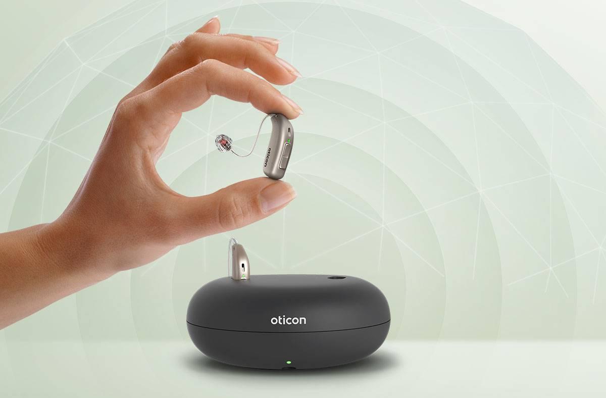 Máy trợ thính Oticon sạc pin chất lượng loại tích hợp công nghệ loại bỏ tiếng hú tiếng rít